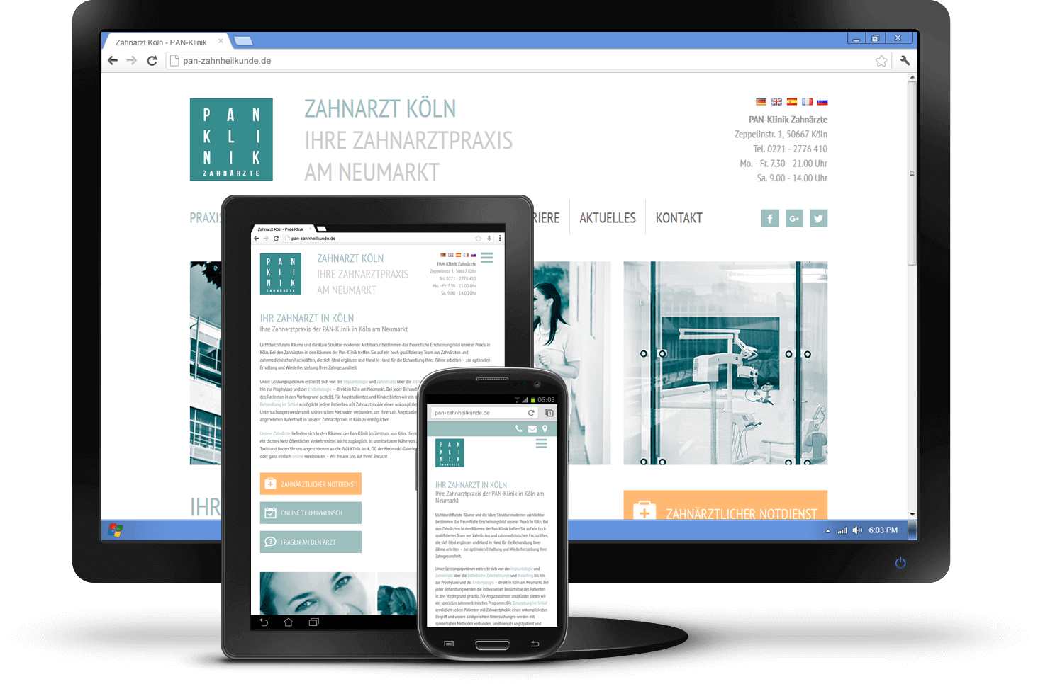 Responsive Design - Website PAN-Zahnklinik