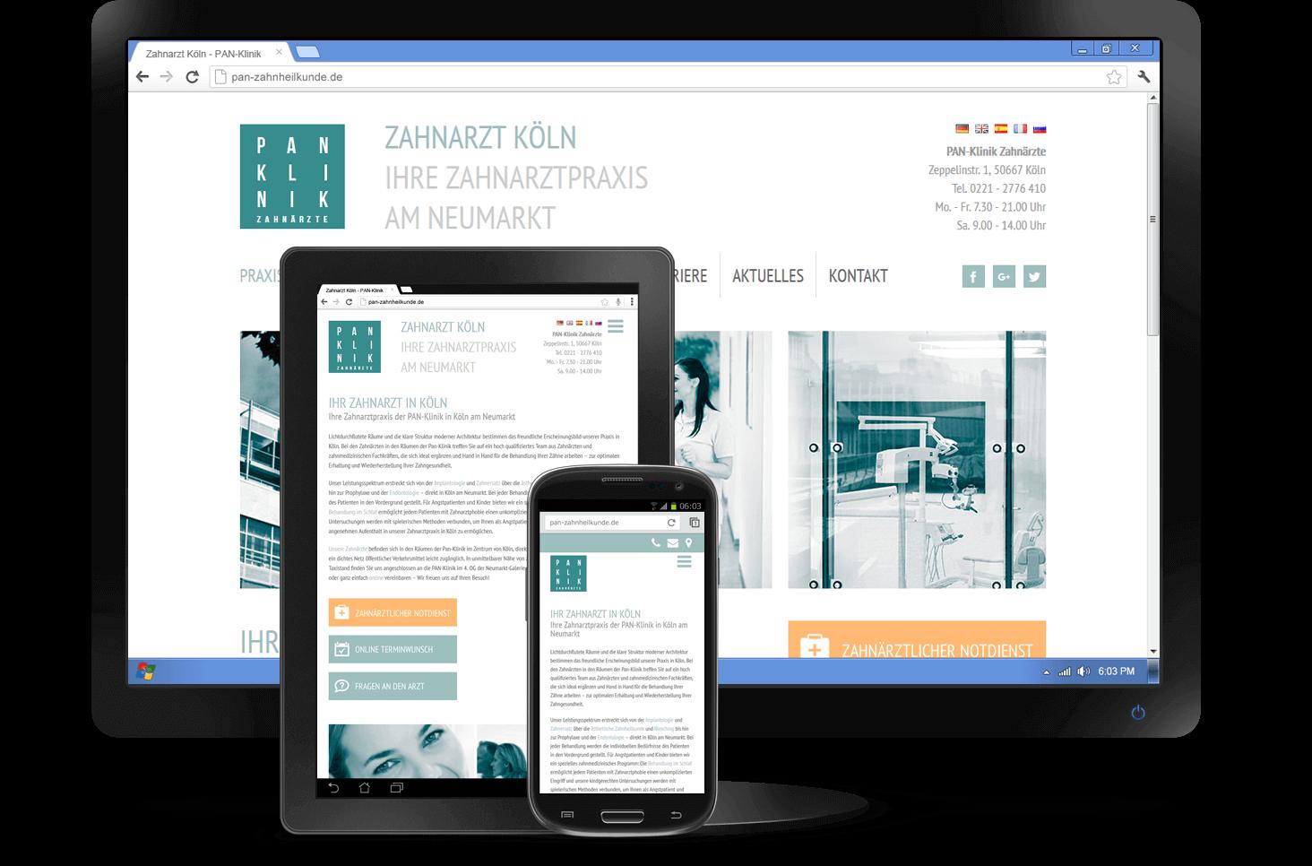 Responsive Design - Website PAN-Zahnklinik
