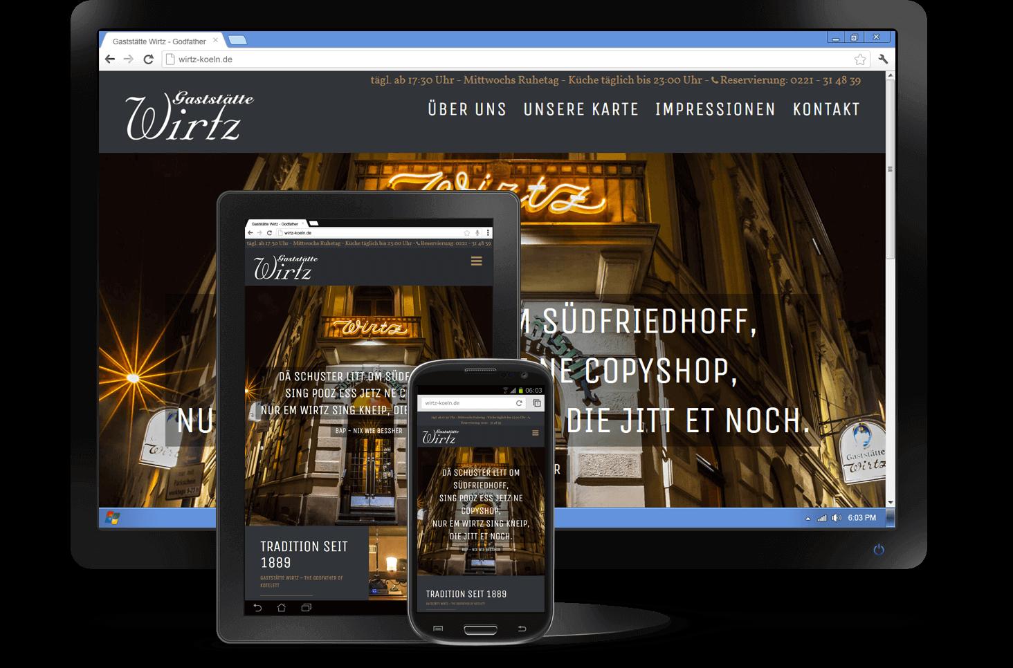 Responsive Design - Website Gaststätte Wirtz