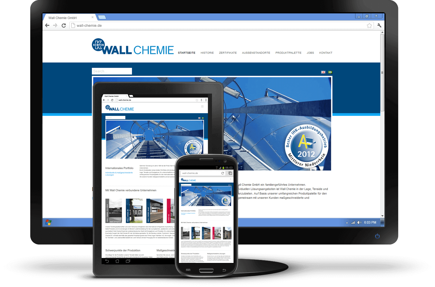 Responsive Design - Website Wall Chemie GmbH