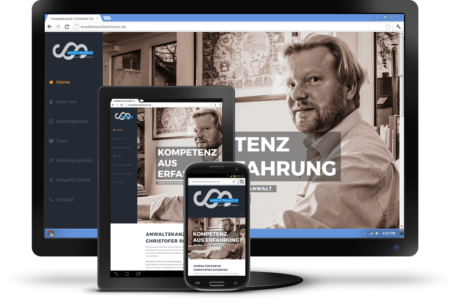 Responsive Design - Website Anwalt Christofer Schwarz