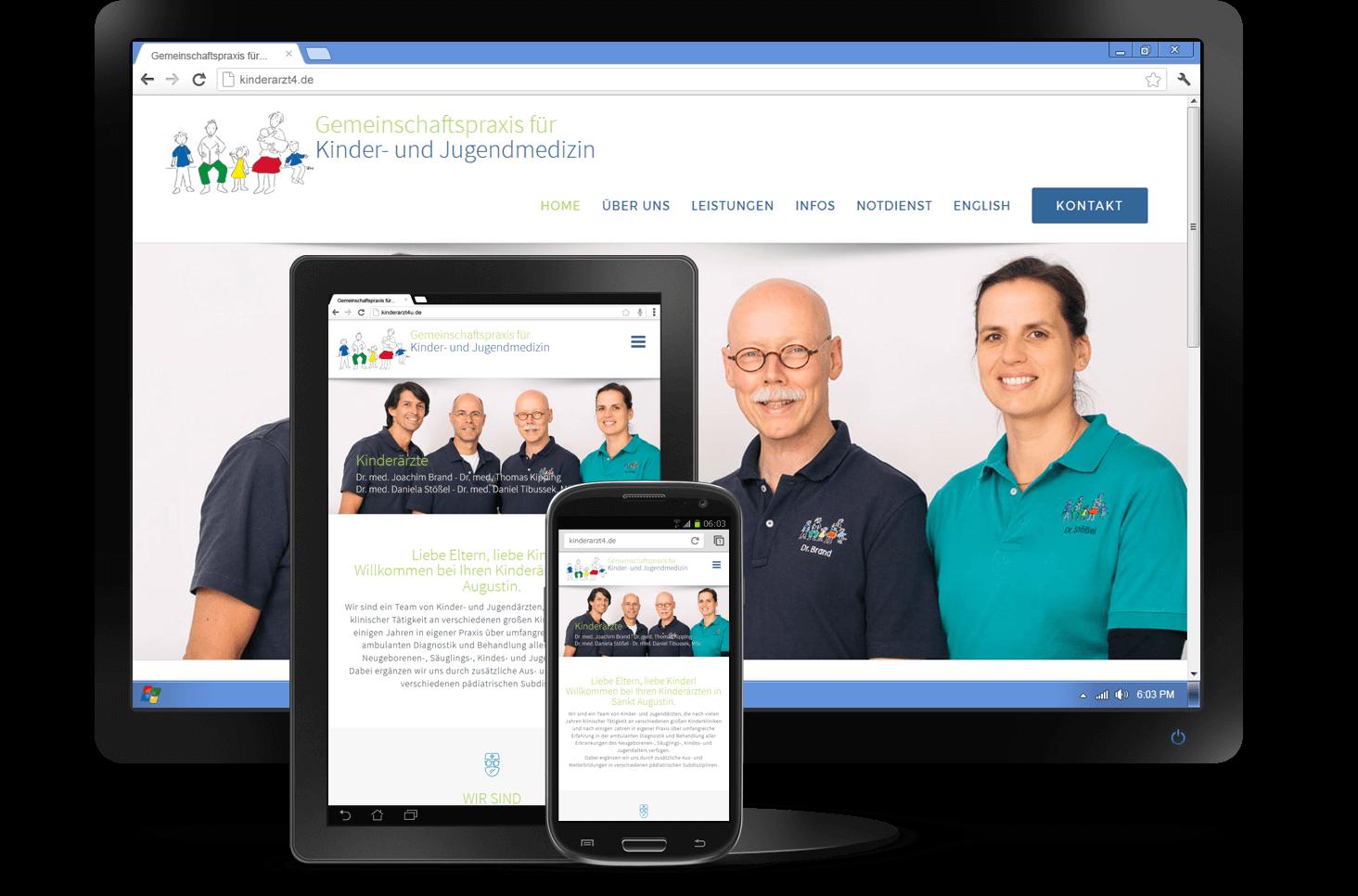 Responsive Design - Website Gemeinschaftspraxis für Kinder- und Jugendmedizin St. Augustin