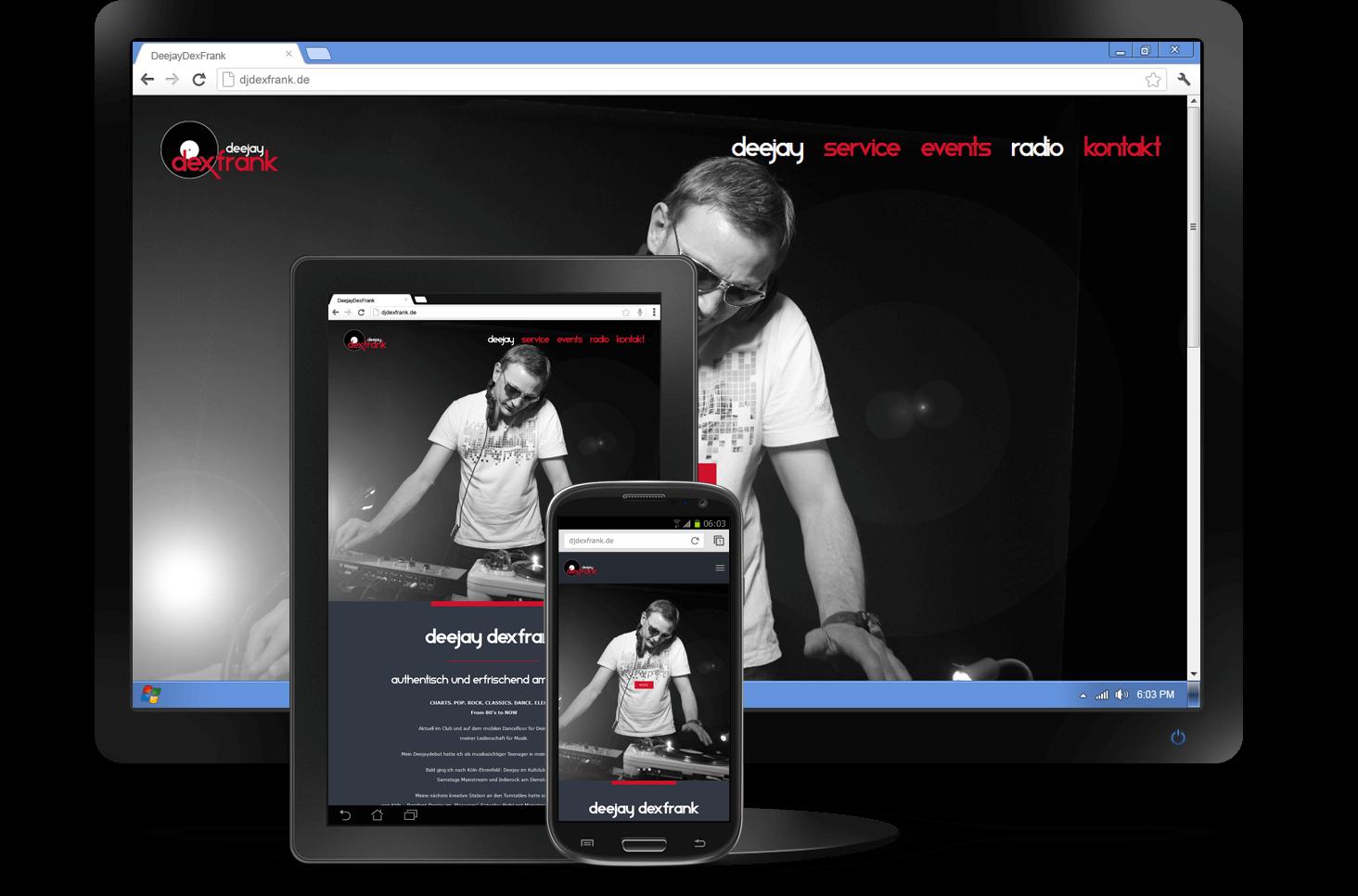 Responsive Design - Website Deejay DexFrank